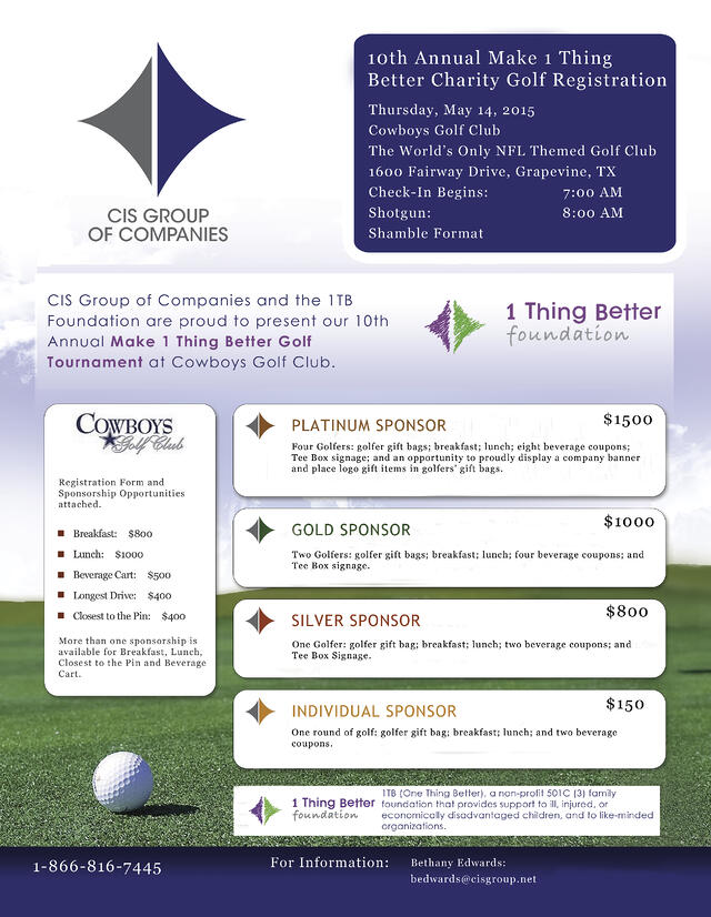 2015 1 Thing Better Golf Tournament, CIS Group